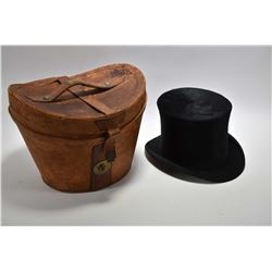 Antique Christy's London silk plush top hat in original fitted leather top hat box