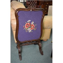 Victorian rosewood and needle point upholstered draft screen circa 1890