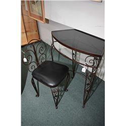 Vintage wrought telephone table with glass top and a matching chair