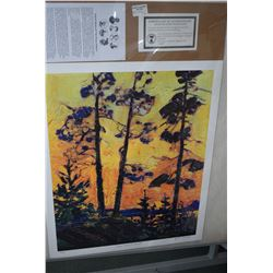"Two unframed Tom Thomson Group of Seven prints including ""Pine Trees at Sunset"" and ""Spring in Algon"