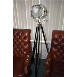 Deco style movie light, chrome, wood and glass