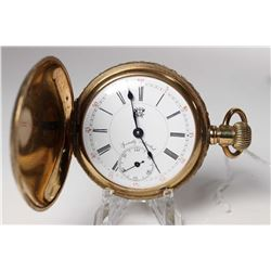 Hampden size 18 pocket watch, 17 jewel, grade Special Adjusted, serial #9705394, dates to 1895. Fanc