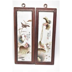 "Pair of framed Famille rose lotus and bird pond tiles, each overall dimensions 17"" X 6"""