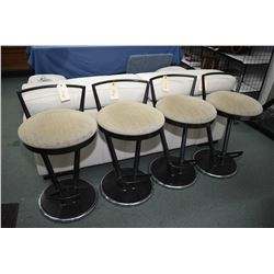Set of four quality swivel breakfast stools made by Elite Manufacturing Corp. with heavy black frame