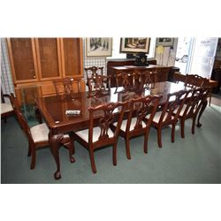Chippendale style rosewood dining table with two large insert leaves extending the table to 10' in t