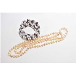 "Strand of genuine pearl, 16"" in length and individually knotted and a mixed genuine pearl bracelet"