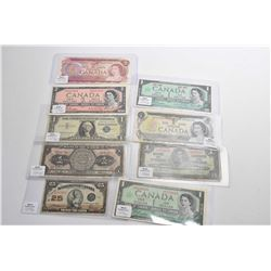 Selection of bank notes including Canadian two1967, a1973 and 1937 one dollar bills, 1954 and 1974 C