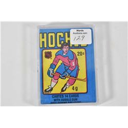 Vintage unopened set of O-Pee-Chee 20 cent hockey pack with 14 cards and gum, 1979-80 season