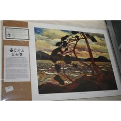 "Two unframed Group of Seven prints including ""Maligne Lake"" by Lawren Harris and ""West Wind"" by Tom"