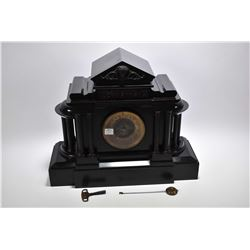 Large antique black slate mantle clock with columns, hunt scene cartouche and original key