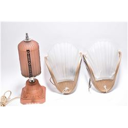 Art deco pink bedside lamp and a pair of deco metal and glass shell motif wall sconces