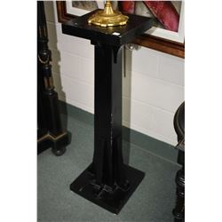 "Mission style statuary stand with black finish 41 1/2"" in height"