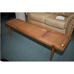 Mid century modern three section coffee table likely used as bench, need some tlc on the rattan work