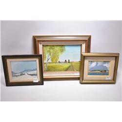 "Three original artworks on board including a landscape with grain elevators initialled WHS, 9"" X 12"""