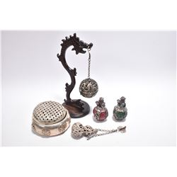 Selection of Oriental collectibles including a white metal open work incense burner with cover, a sm