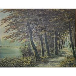 "Framed oil on canvas painting of an autumn forest path signed by artist K. Meyer, 15 3/4"" X 19 1/2"""