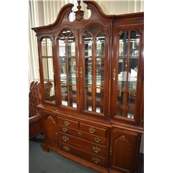 Solid cherry chest on chest china cabinet made by Lexington