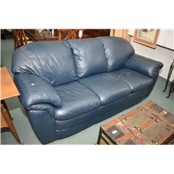 Full size dark blue leather sofa