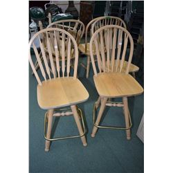 Two arrow back swivelling high back stools