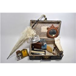 Selection of vintage and antique lady's collectibles including lace collar, Lucite purse, hairpin co