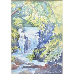 "Framed original watercolour painting labelled on verso "" Lower Chute Falls ( Near Naramata B.C)"" and"
