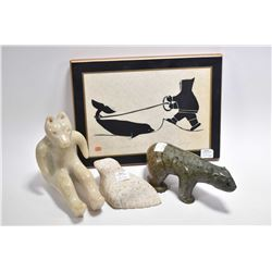 "Selection of Inuit art including soapstone walrus, sitting bear and a green soapstone 8"" bear plus a"