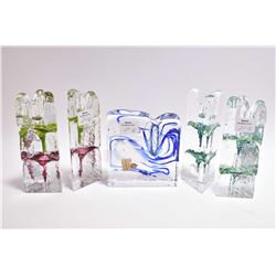 "Selection of German art glass candle sticks including two matched pairs and a single 4"" high cased g"