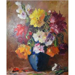"Framed acrylic on canvas pallet painted still-life labelled on verso "" Bouquet- Modern style by Vien"