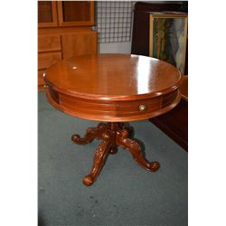 "Mid 20th century Victorian style center pedestal 37"" diameter library table with three drawers, one"
