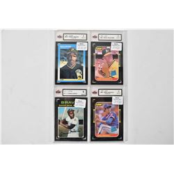 Four graded baseball cards including two Leaf: Greg Maddux rookie 9 mint +, Mark McGwire 9 mint+ plu