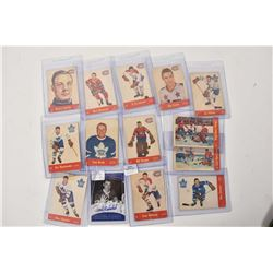 Thirteen vintage Quaker hockey cards, all Montreal and Toronto including Jean Beliveau, Bill Durnan,