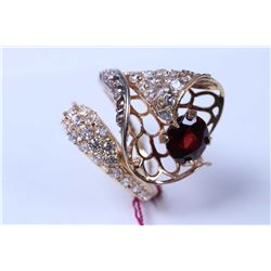 Lady's custom made 18ct yellow gold and garnet dinner ring accented with coloured and clear crystal