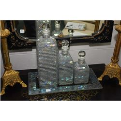Set of three graduated glass mosaic deco style decanter bottles and tray