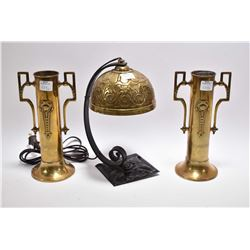 Pair of Victorian brass spill vases and a bent wrought iron lamp with pressed brass shade