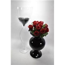 "Two pieces of modern art glass including 29 1/2"" wine glass and a black vase with roses"