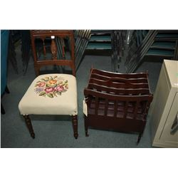 Needlepoint upholstered mid 20th century side chair with turned supports and carved decoration and a