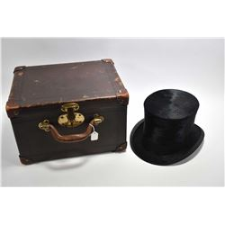 "Antique silk plush top hat in original fitted leather case labelled ""Wakefield, London"""