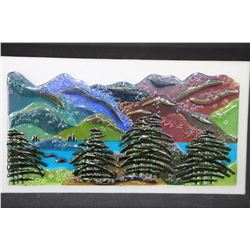 "Framed mounted art glass mountain and tree sculpture signed by artist Dave Jordan, 8"" X 16"""