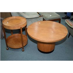 Two pieces of mid century modern teak furniture including two tier bent wood rolling occasional tabl