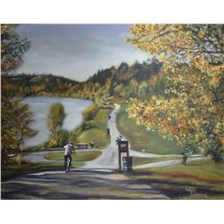 """Framed oil on canvas painting titled on verso """"McKinnon Ravine"""" by artist Larry Dufersne, 24"""" X 30"""""""