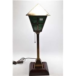 Mission style table lamp with slag glass shade
