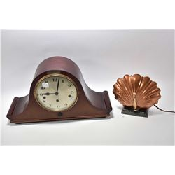 Vintage wooden top hat mantle clock and a copper Art Deco shell shaped desk lamp