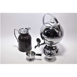 Deco chrome electric Manning Bowman coffee maker, a bakelite thermal jug with glass insert and a chr