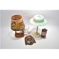 Selection of collectibles including vintage glass and brass lamp with hand painted accents on shade