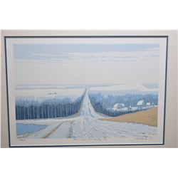 """Framed limited edition serigraph print titled """"This Snow Will Probably Stay"""" pencil signed by artist"""