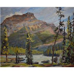 """Framed oil on board painting titled """"Mt. Kerkeslin and the top of Athabasca falls"""" by artist J. Gord"""