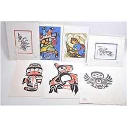 """Seven unframed Haida prints including limited edition """"Drumming Grouse"""" by Gordon Wilson, 83/225 and"""