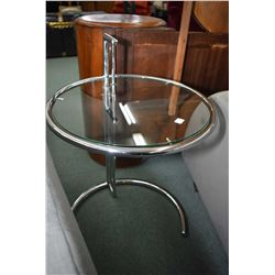 Pair of vintage chrome and glass tables designed by Eileen Gray