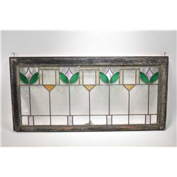 """Framed vintage tulip motif stained and leaded glass window, overall dimension 19"""" X 40"""""""