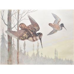 Framed original pastel on paper drawing of a pair of common snipes in flight signed by artist M. Fuh